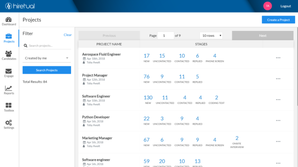 Hiretual Talent Mgmt systems screenshots
