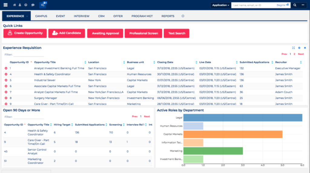 Oleeo Talent Mgmt systems screenshots
