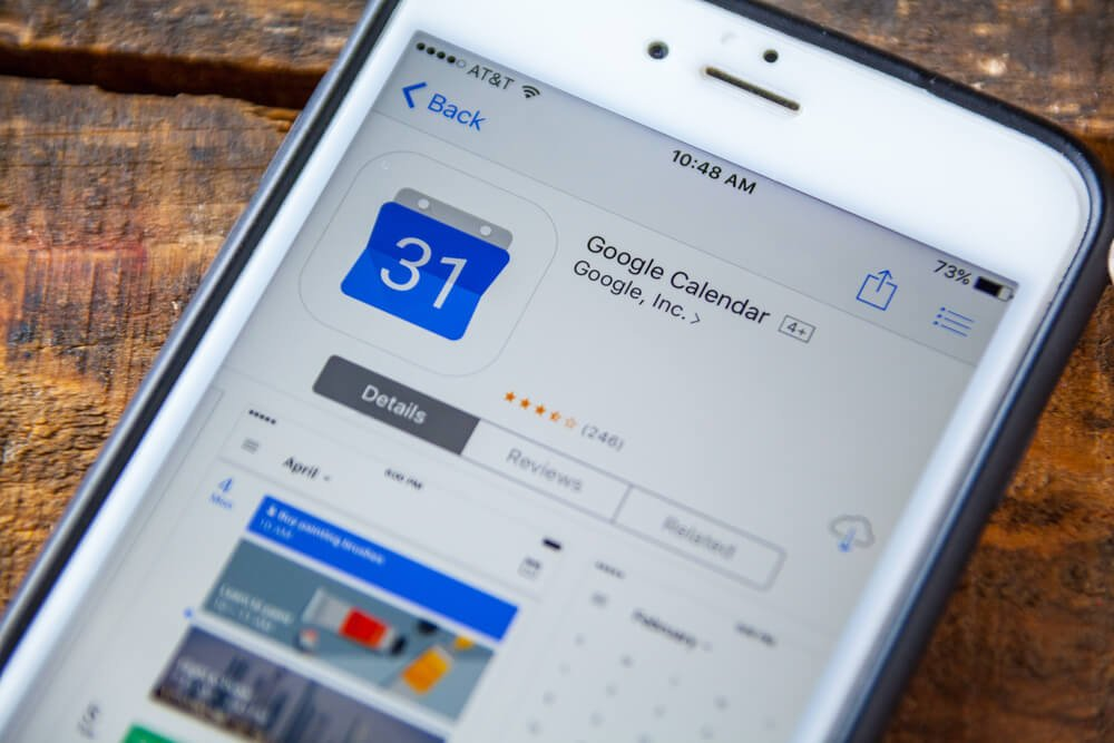 Phone showing a Google Calendar app to help you set your schedule when working from home.