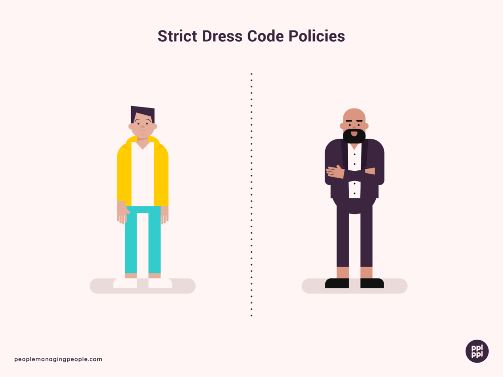 dress code policies illustration showing a more casual dress code on one side and a more formal dress code on the other