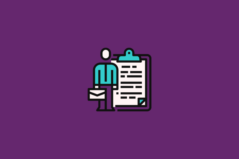 illustration of an employee next to a clipboard with a list of HR policies