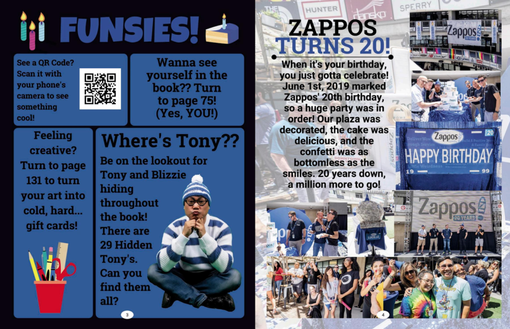 a page from the Zappos employee handbook, showing an example of creative imagery being used.