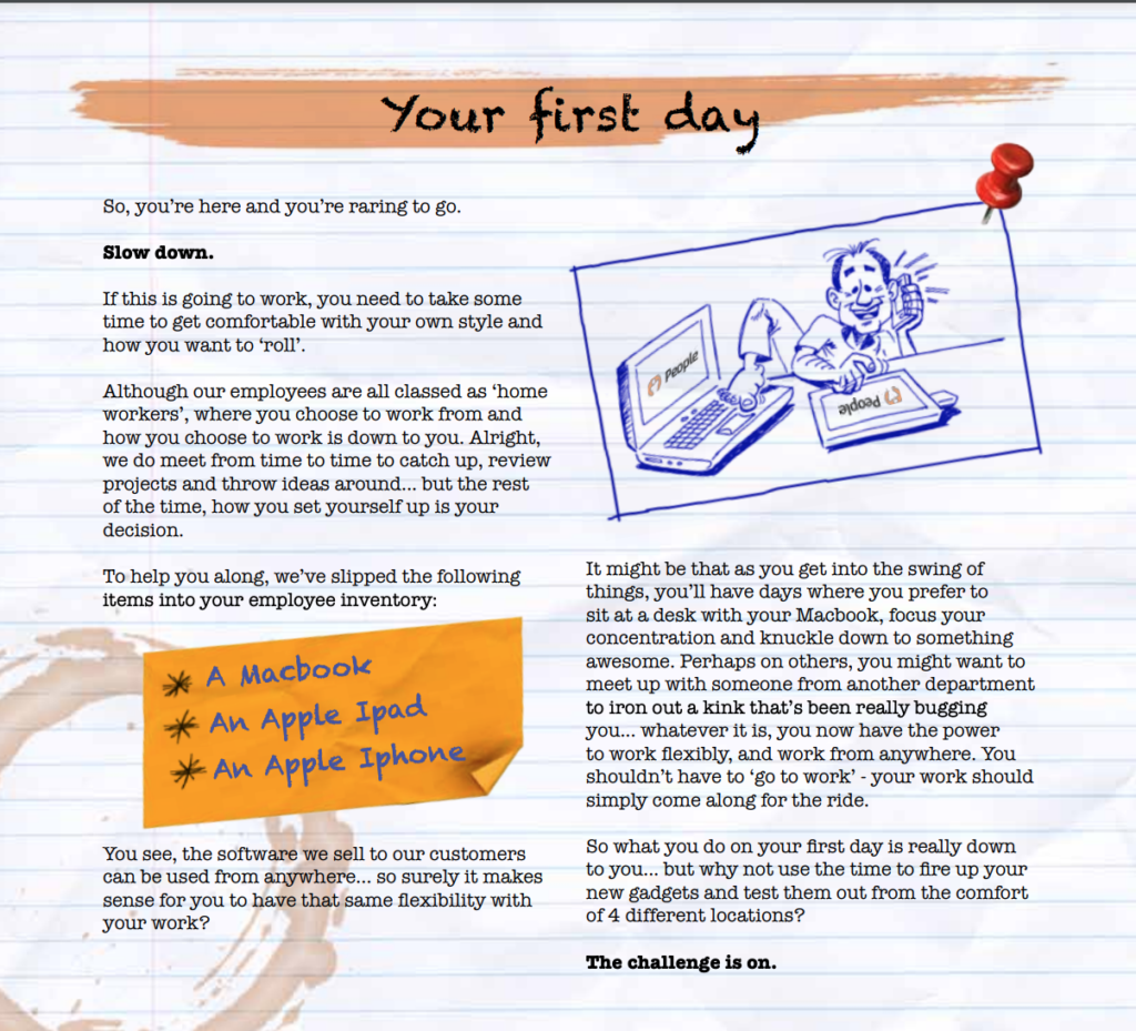 A page from the People employee handbook, showing an example of an entertaining and informative overview of a new hire's first day