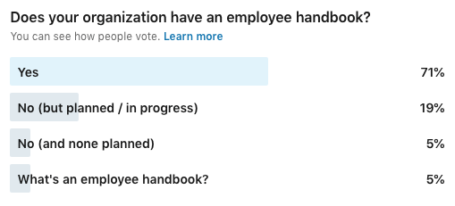 survey results showing whether organizations have an employee handbook or not