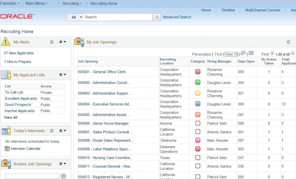 PeopleSoft Oracle Employee Management System Screenshot