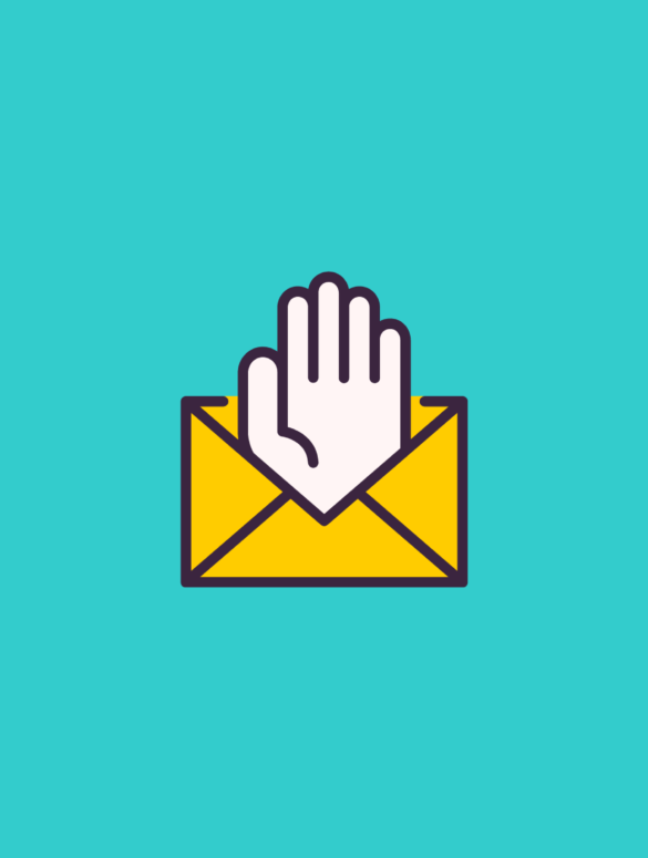 illustration of a hand waving from an envelope for welcome letter to new employees