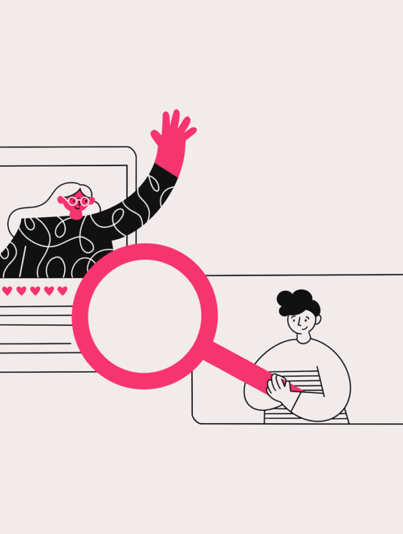 illustration of an employee with a magnifying glass looking at HR policies with an HR manager waving