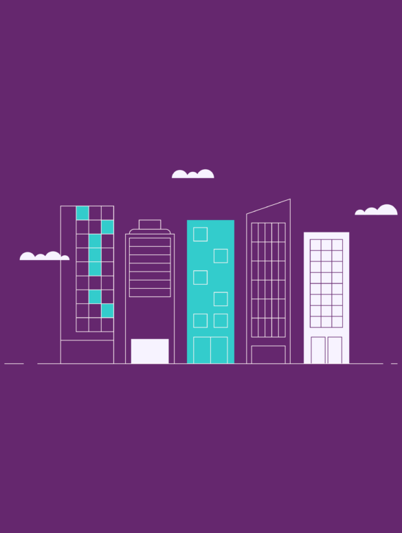 illustration of buildings and a skyline for how to use ERP software