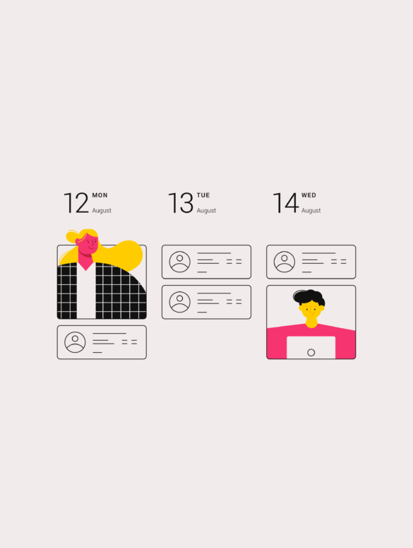 illustration of a calendar with employees on it for online employee scheduling software