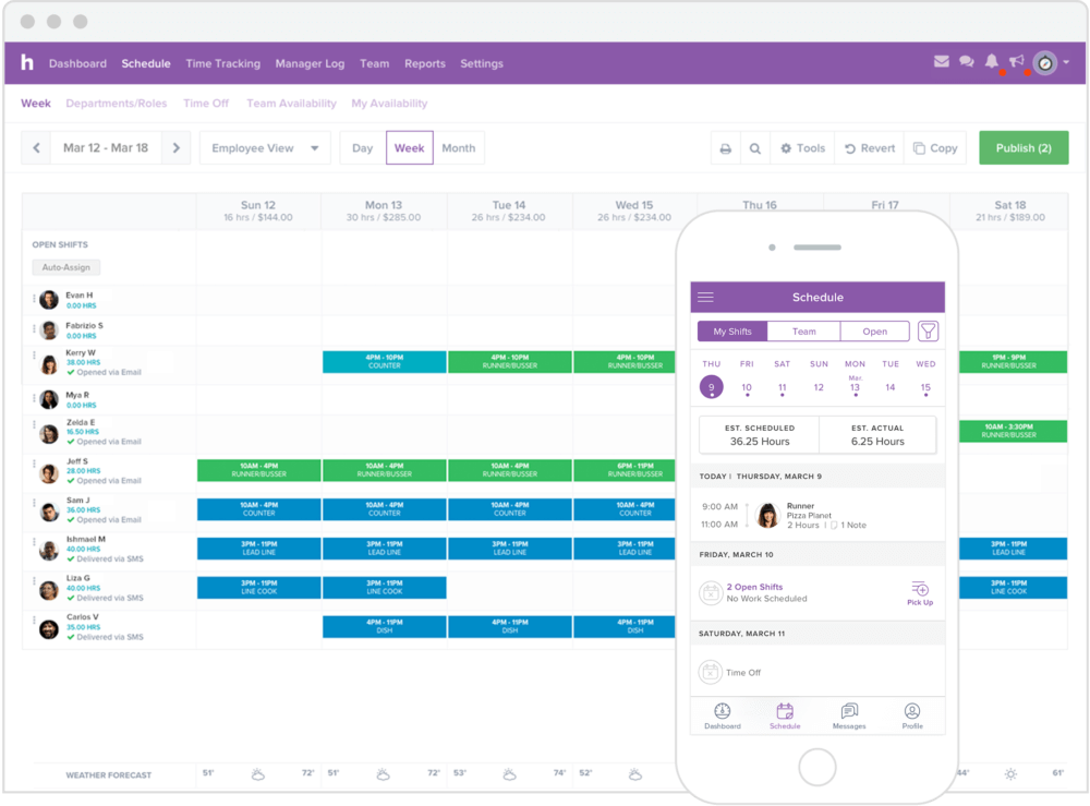 Screenshot Of Homebase for online employee scheduling software